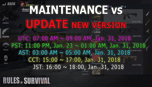 Rules Of Survival: Patch Notes #Jan 31, 2018