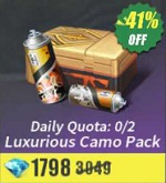 Daily Quota: 0/2 Luxurious Camo Pack