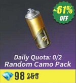 Daily Quota: 0/2 Random Camo Pack